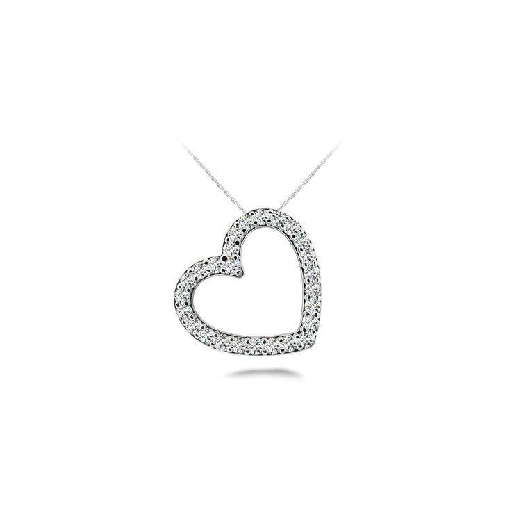 Slanted Heart Diamond Pendant in White Gold | 01