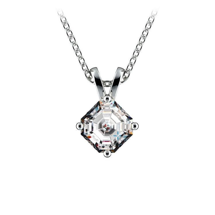 Solitaire Asscher Diamond Necklace in White Gold (3/4 ctw)  | 01