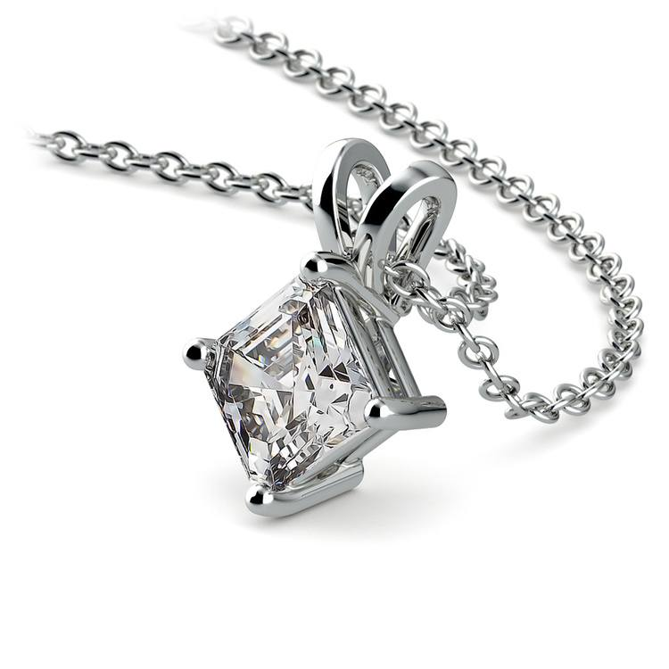 Solitaire Asscher Diamond Necklace in White Gold (3/4 ctw)  | 03