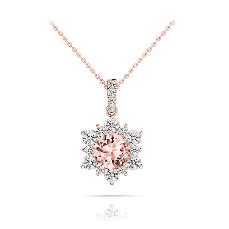 Sunburst Morganite Halo Diamond Pendant Necklace In Rose Gold | 01