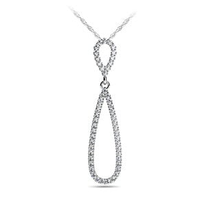 Teardrop Diamond Pendant in White Gold
