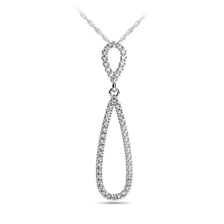Teardrop Diamond Pendant in White Gold | 01