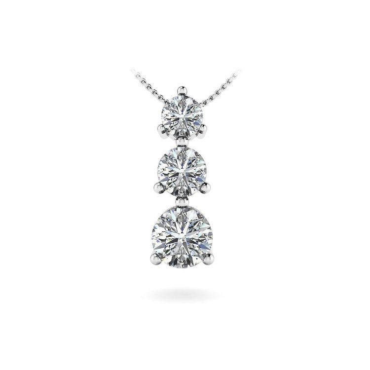 Three Stone Diamond Pendant in White Gold (1/3 ctw) | 01