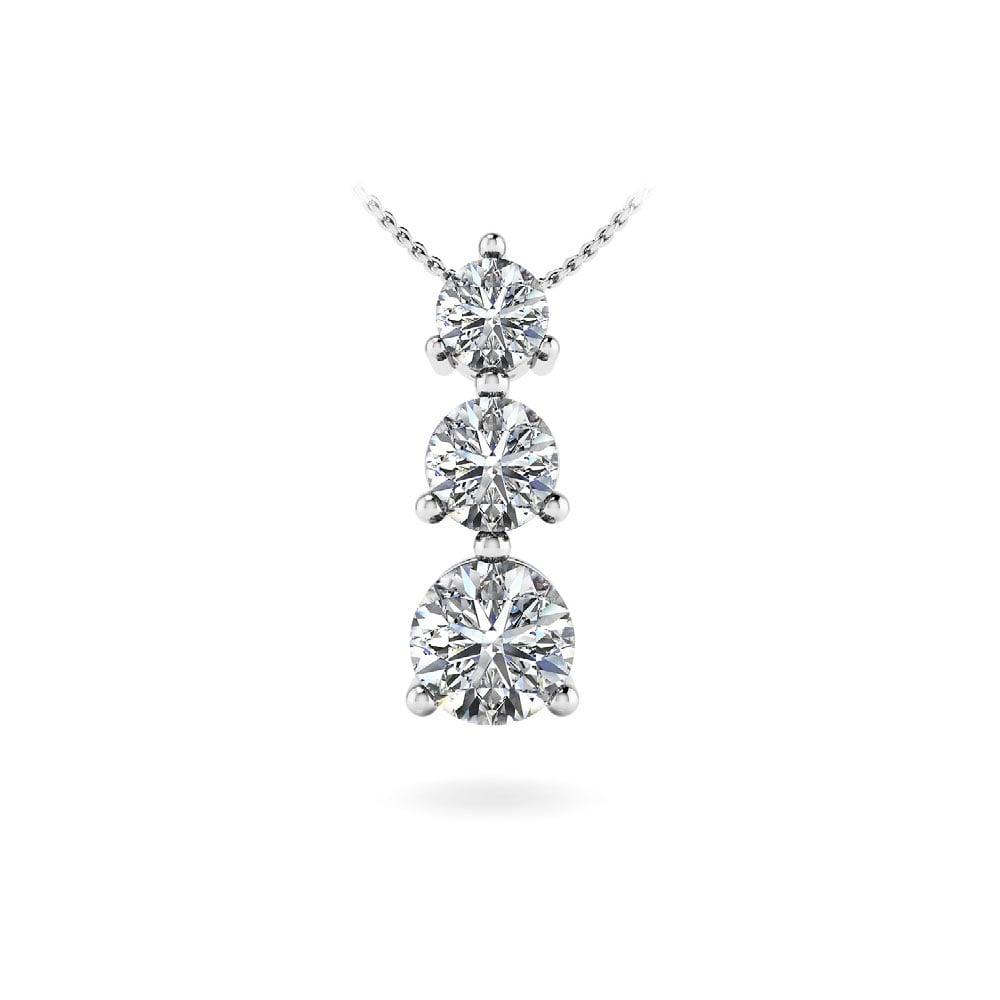 Three Stone Diamond Pendant In White Gold 1 3 Ctw