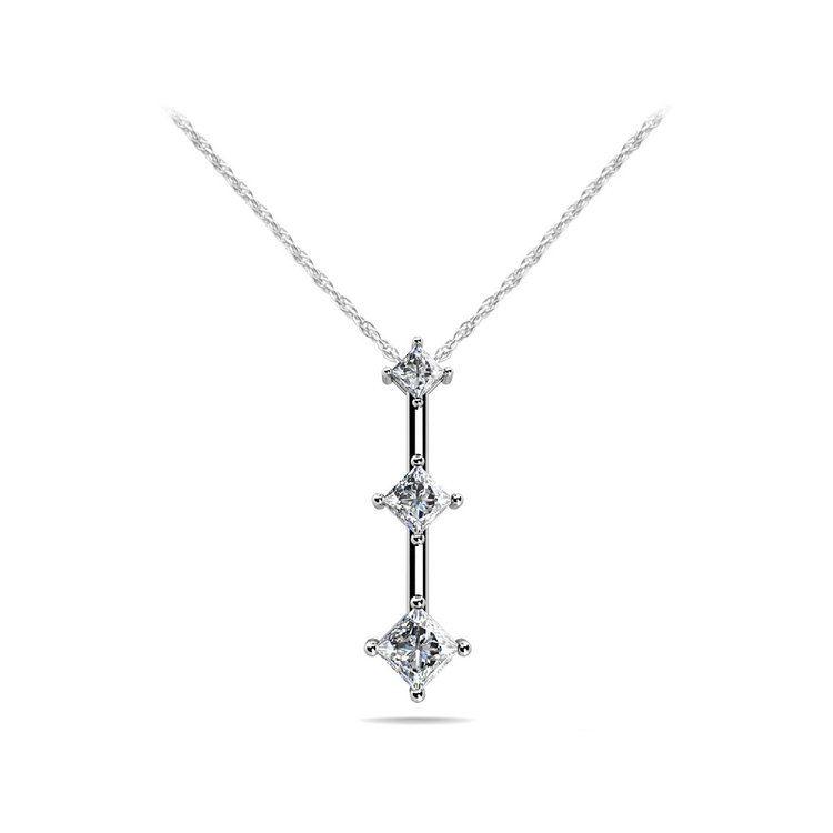 Three Stone Princess Diamond Pendant in White Gold | 01