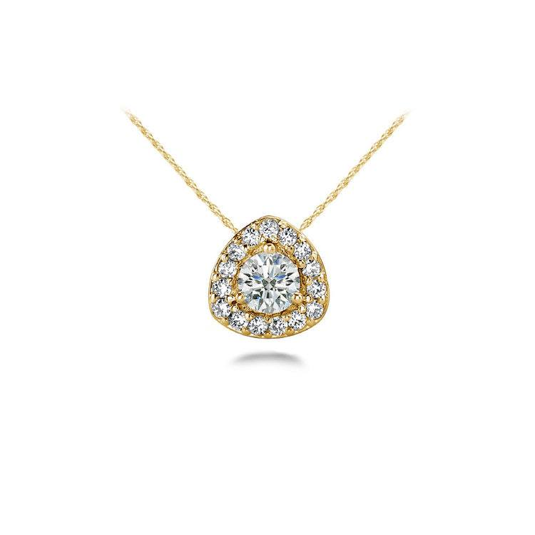 Triangle Halo Diamond Pendant in Yellow Gold | 01