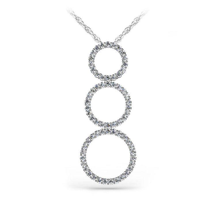 Triple Diamond Circle Pendant in White Gold  | 01