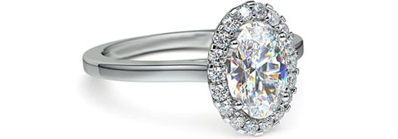 Oval Halo White Gold Moissanite Engagement Ring