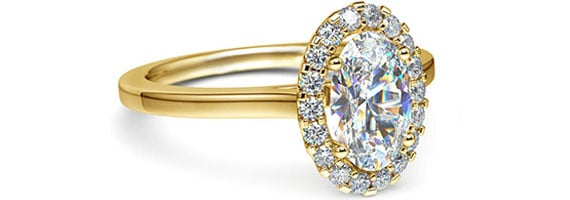 Oval Halo Yellow Gold Moissanite Engagement Ring