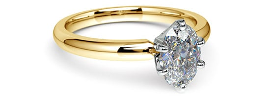 Gold Oval Solitaire Engagement Ring