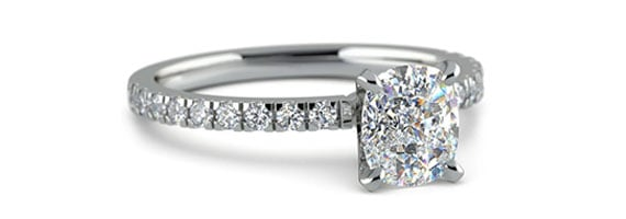 Cushion Pave White Gold Moissanite Engagement Ring