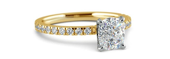 Cushion Pave Yellow Gold Moissanite Engagement Ring