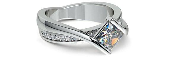 Princess Cut Bezel Set Engagement Ring