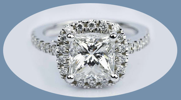 princess diamond halo white gold engagement ring