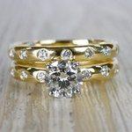 1 Carat Inset Diamond Band Ring w/ Matching Wedding Band - small