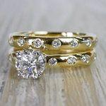 1 Carat Inset Diamond Band Ring w/ Matching Wedding Band - small angle 2