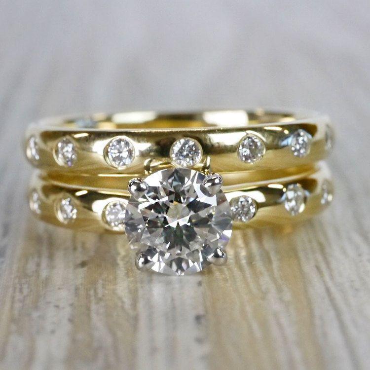 1 Carat Inset Diamond Band Ring w/ Matching Wedding Band