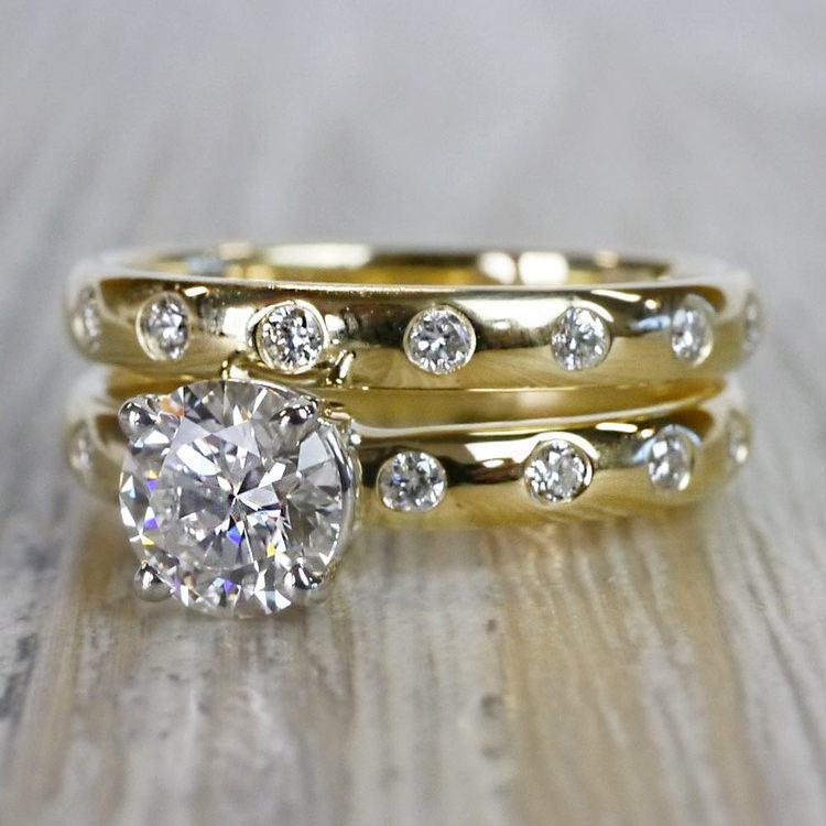 1 Carat Inset Diamond Band Ring w/ Matching Wedding Band angle 2