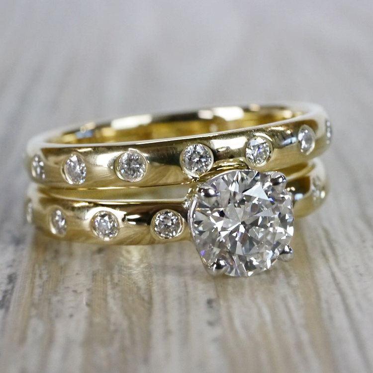 1 Carat Inset Diamond Band Ring w/ Matching Wedding Band angle 3