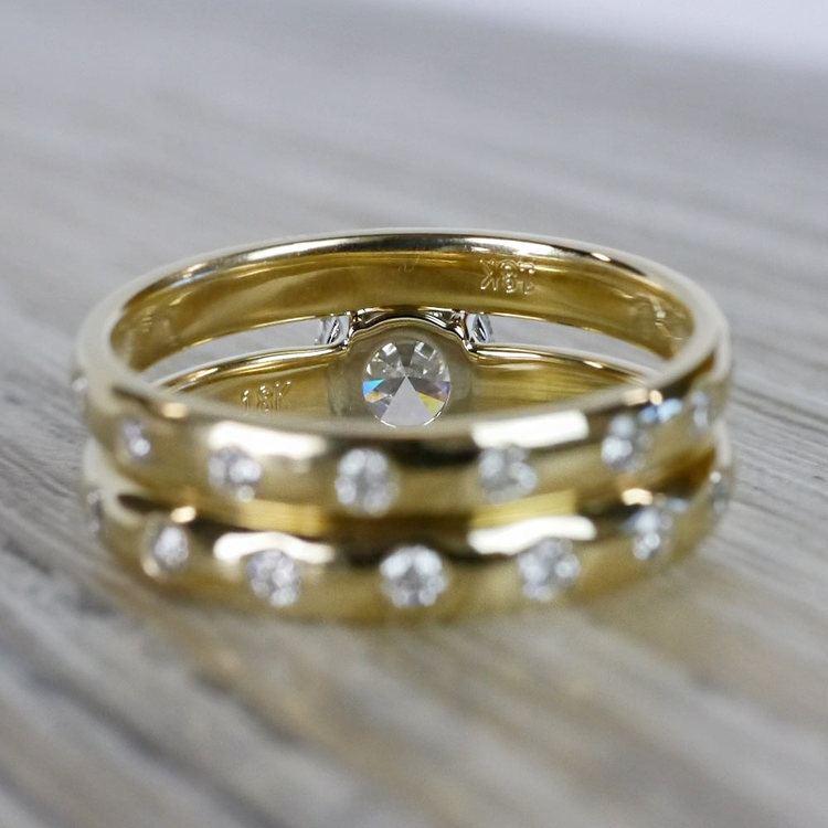 1 Carat Inset Diamond Band Ring w/ Matching Wedding Band angle 4