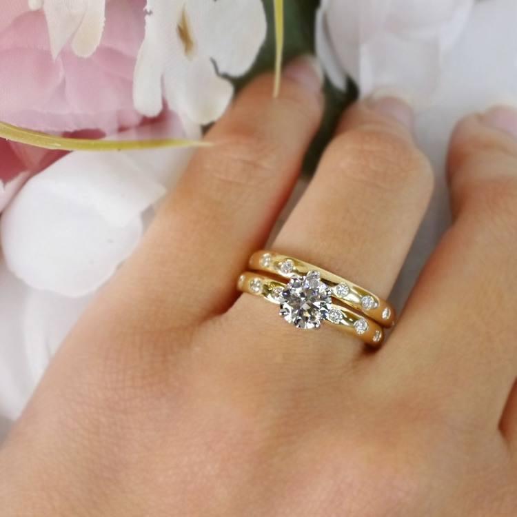1 Carat Inset Diamond Band Ring w/ Matching Wedding Band angle 5