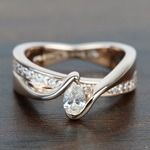 0.30 Carat Pear Custom Bezel Diamond Bridge Engagement Ring - small
