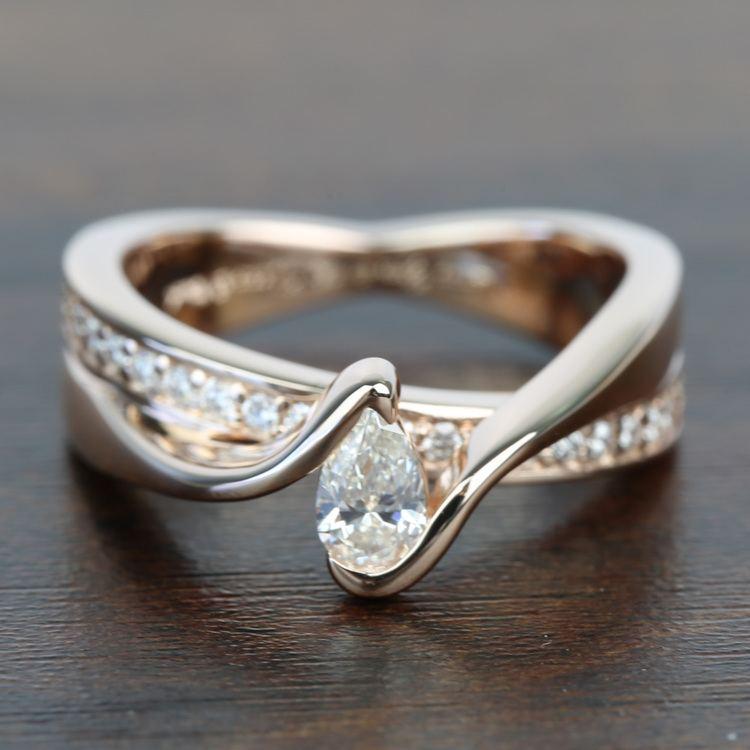 0.30 Carat Pear Custom Bezel Diamond Bridge Engagement Ring