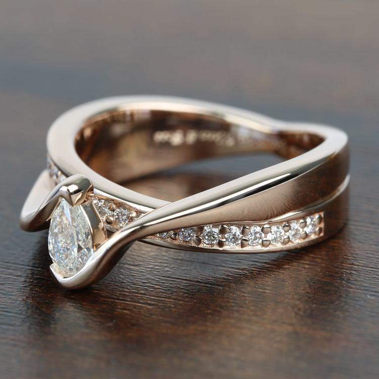 0.30 Carat Pear Custom Bezel Diamond Bridge Engagement Ring angle 2