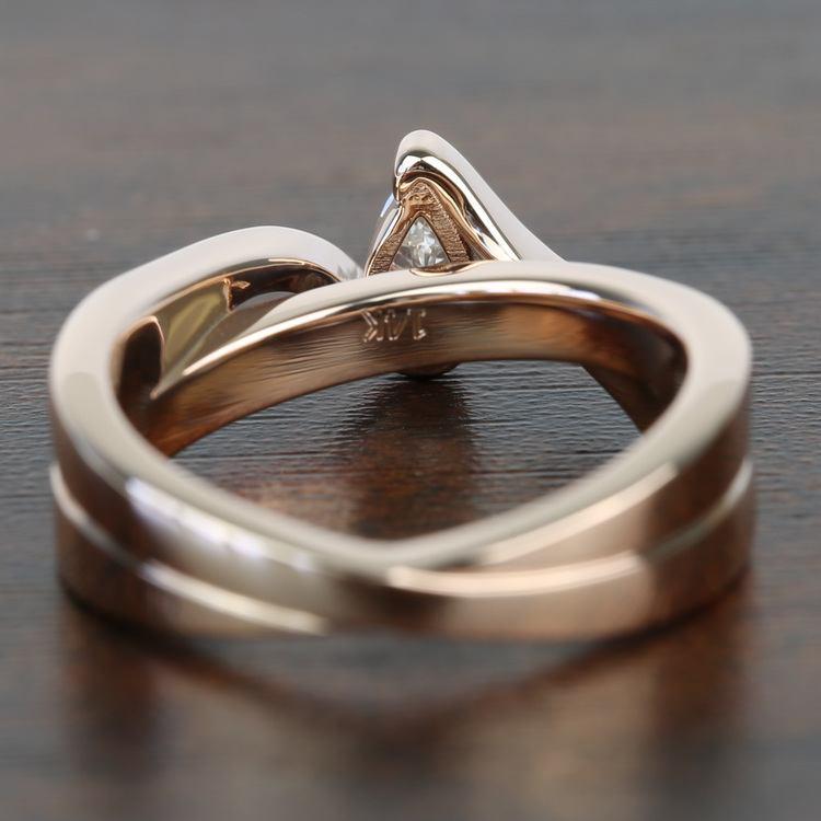 0.30 Carat Pear Custom Bezel Diamond Bridge Engagement Ring angle 4