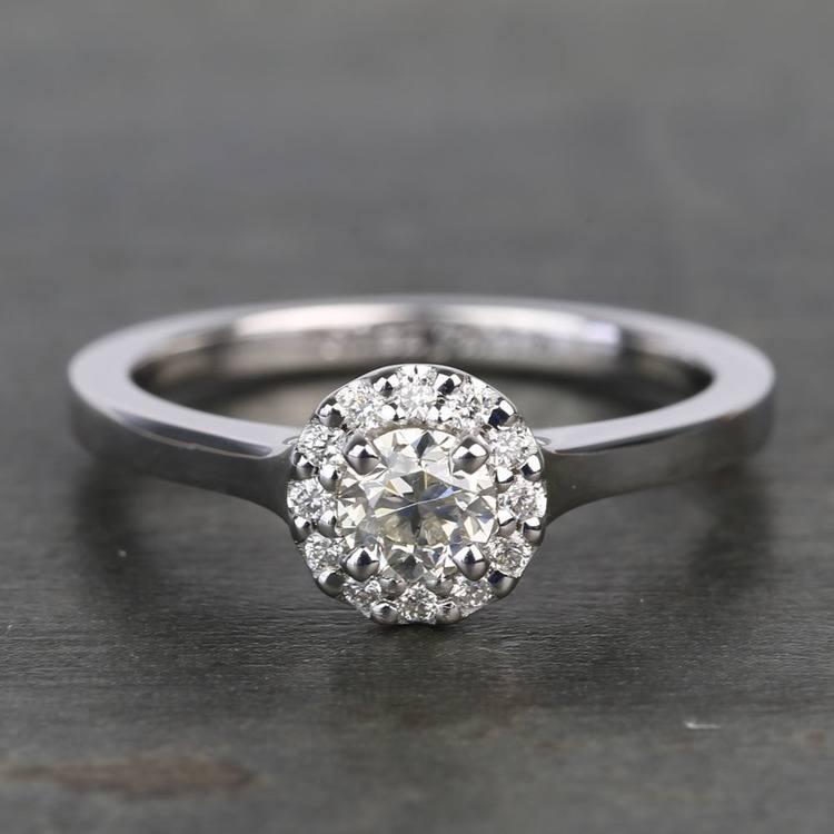 0.40 Carat Pave Round Halo Diamond Engagement Ring