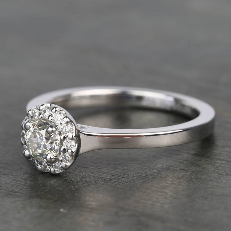 0.40 Carat Pave Round Halo Diamond Engagement Ring angle 2