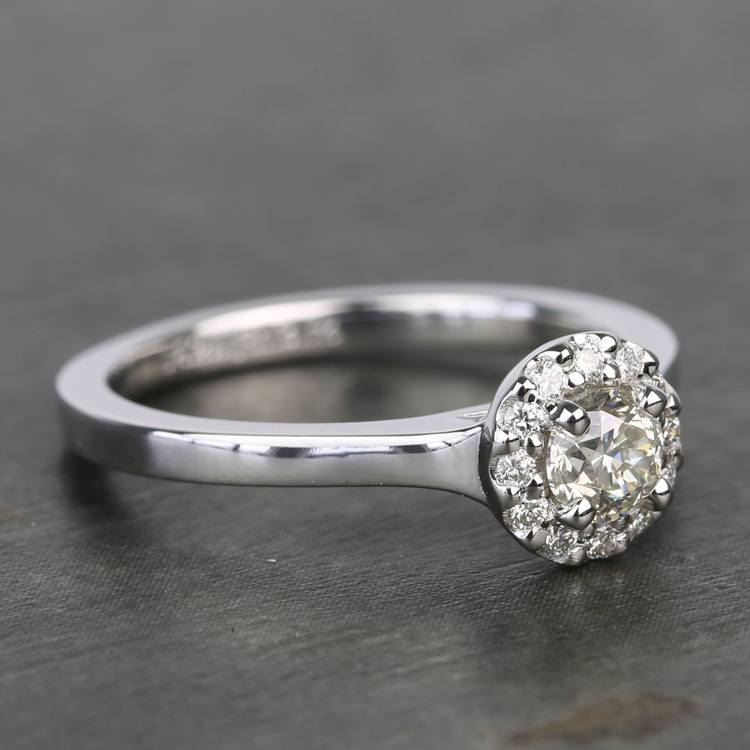 0.40 Carat Pave Round Halo Diamond Engagement Ring angle 3