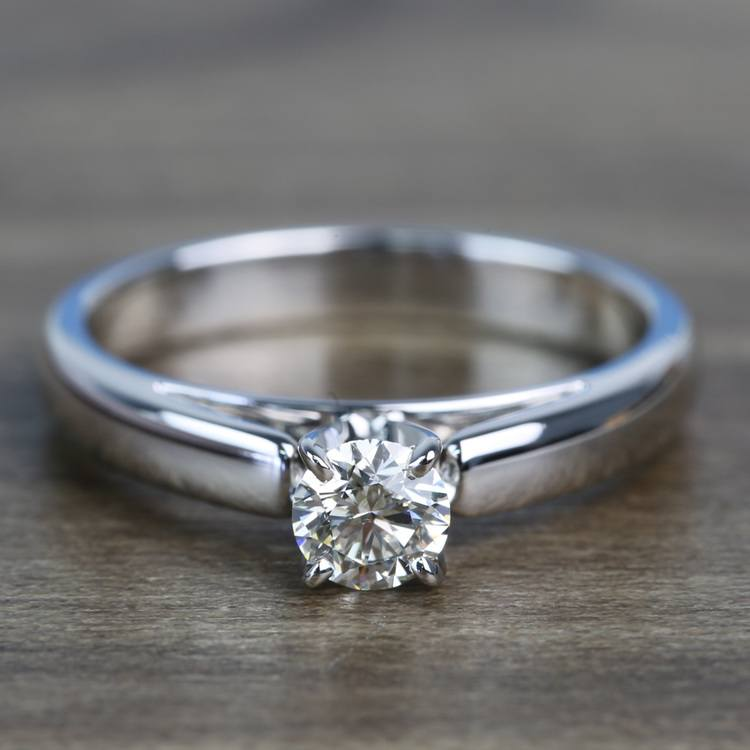 0.41 Carat Round Diamond Cathedral Solitaire Engagement Ring
