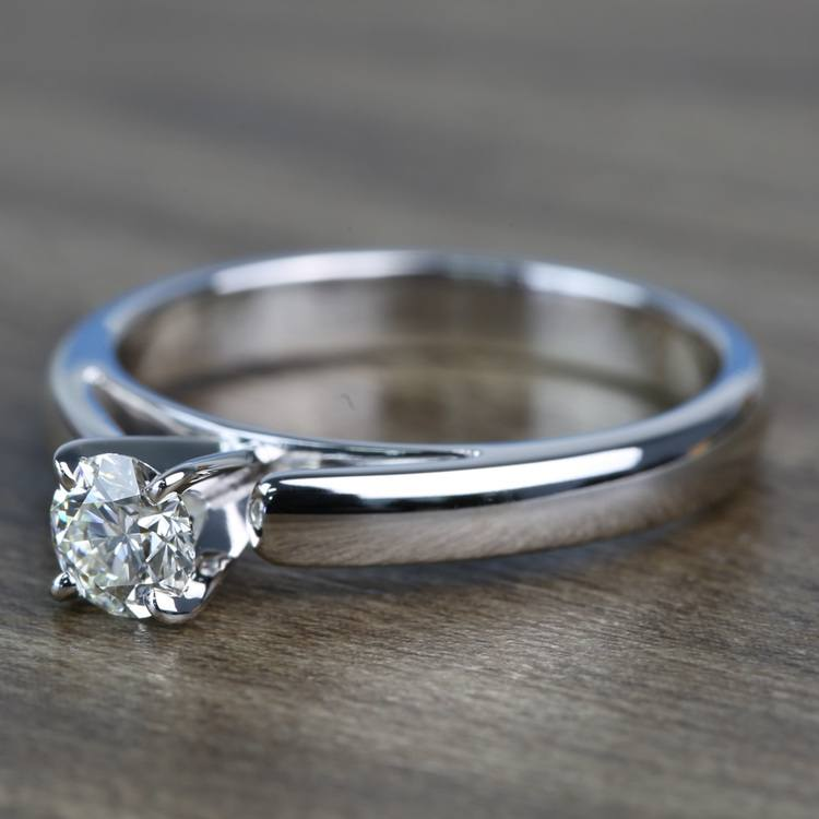 0.41 Carat Round Diamond Cathedral Solitaire Engagement Ring angle 2