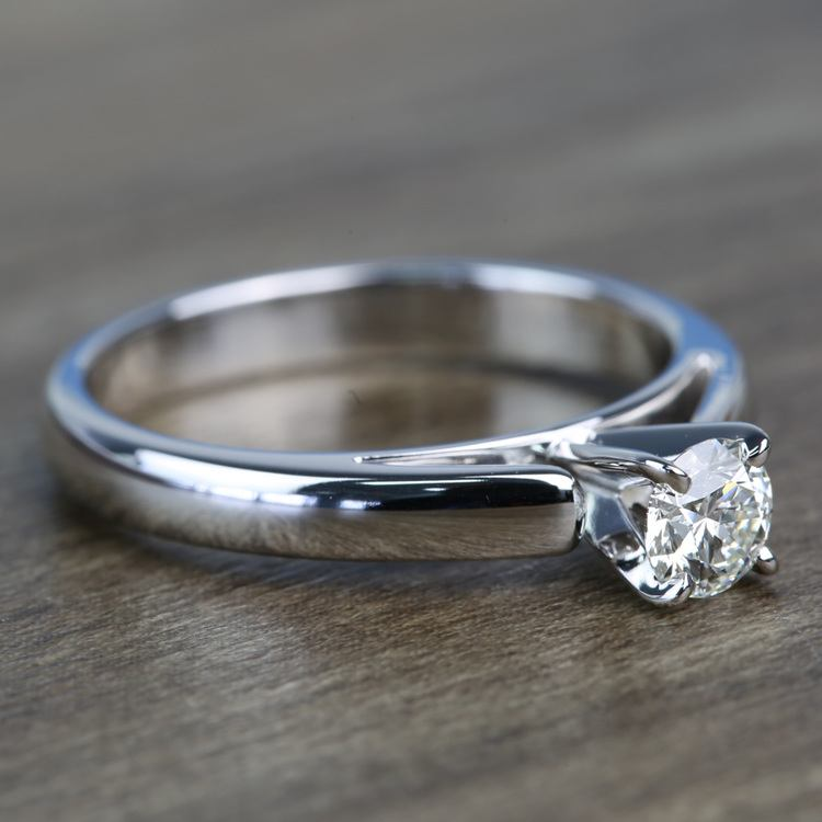 0.41 Carat Round Diamond Cathedral Solitaire Engagement Ring angle 3