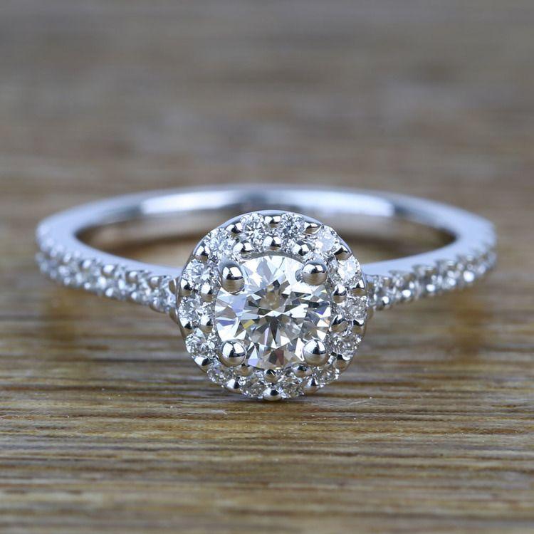 0.42 Carat Round Pave Halo Diamond Engagement Ring
