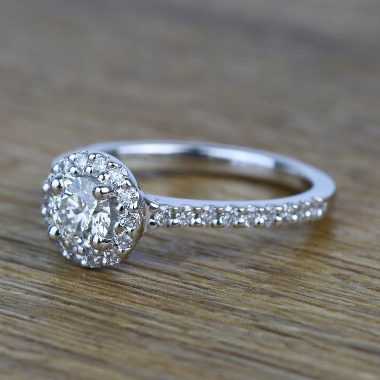 0.42 Carat Round Pave Halo Diamond Engagement Ring angle 2