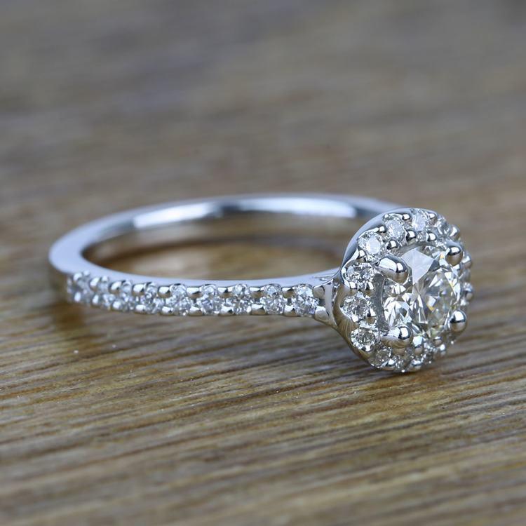 0.42 Carat Round Pave Halo Diamond Engagement Ring angle 3