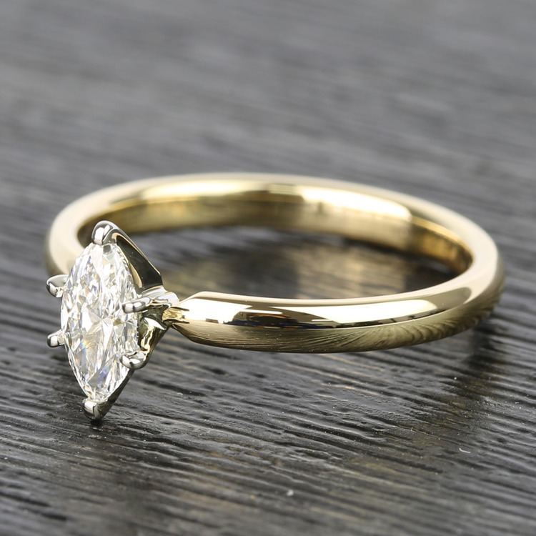 Marquise Classic Solitaire Diamond Engagement Ring (0.50 Carat) angle 2