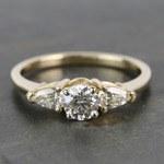 0.60 Carat Round & Pear Diamond Engagement Ring - small