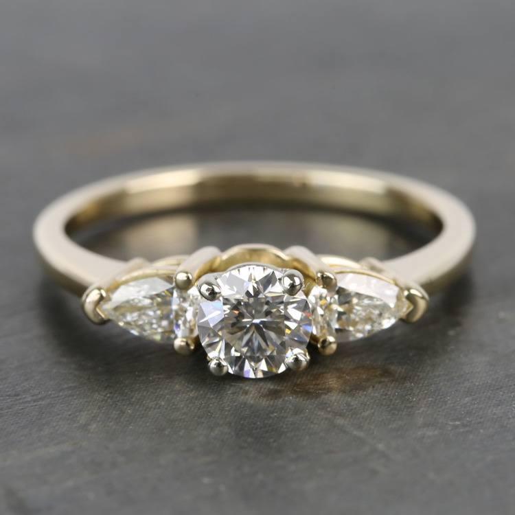 0.60 Carat Round & Pear Diamond Engagement Ring