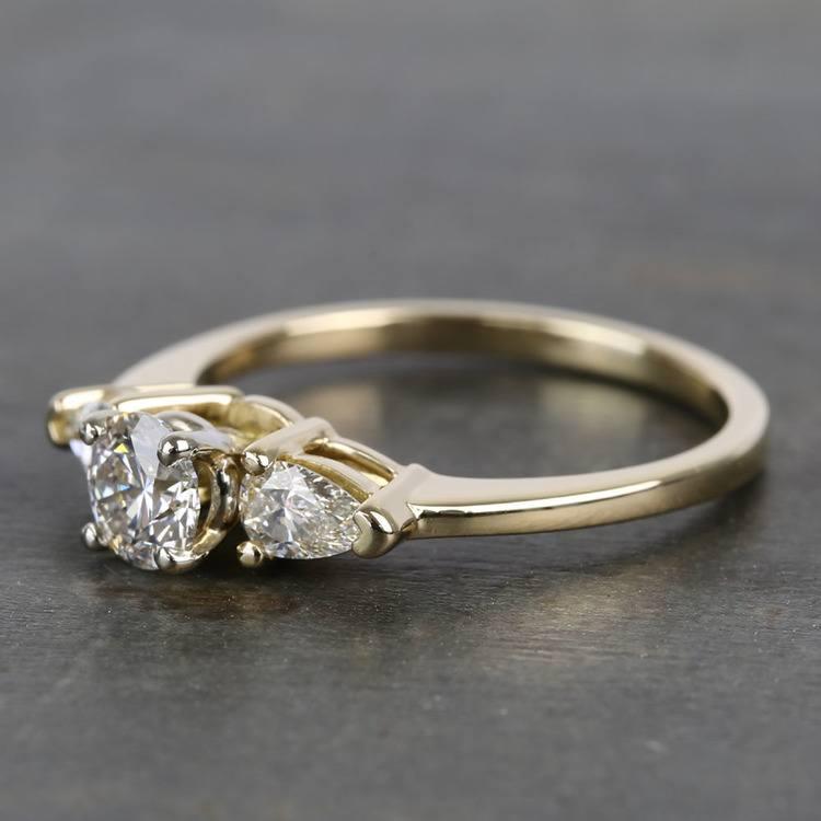 0.60 Carat Round & Pear Diamond Engagement Ring angle 2