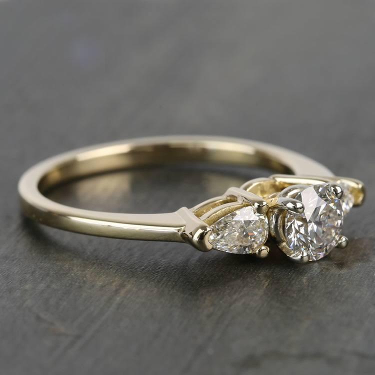 0.60 Carat Round & Pear Diamond Engagement Ring angle 3