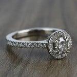 0.60 Carat Round Petite Halo Diamond Engagement Ring - small angle 3