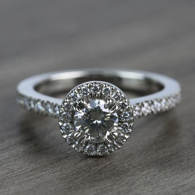 0.60 Carat Round Petite Halo Diamond Engagement Ring
