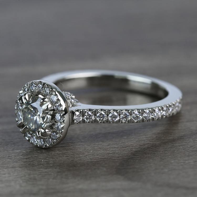 0.60 Carat Round Petite Halo Diamond Engagement Ring angle 2