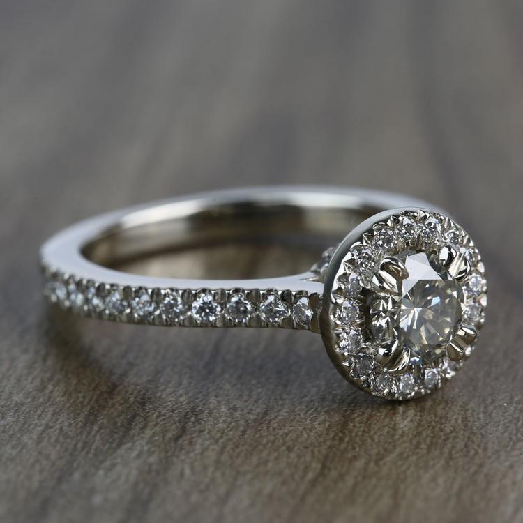 0.60 Carat Round Petite Halo Diamond Engagement Ring angle 3
