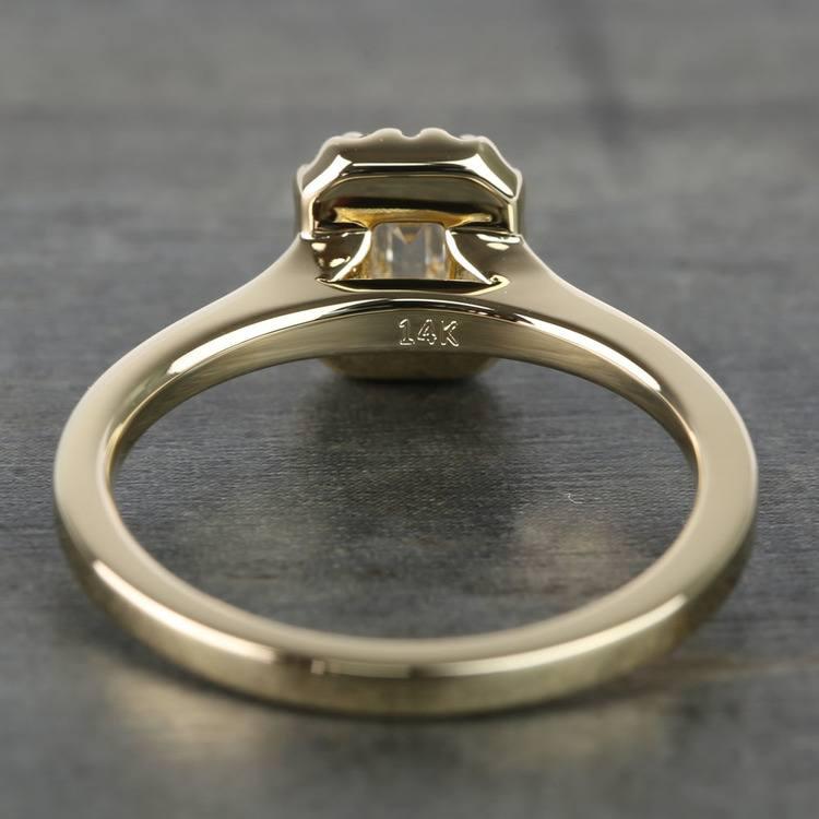 0.70 Carat Emerald Pave Halo Diamond Ring angle 4