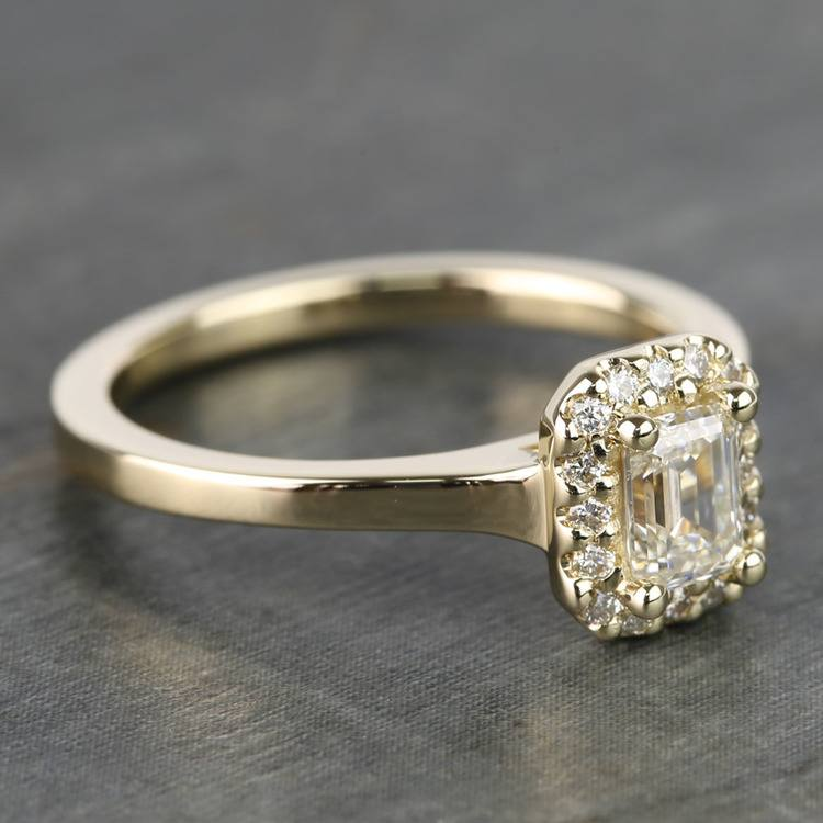 0.70 Carat Emerald Pave Halo Diamond Ring angle 3