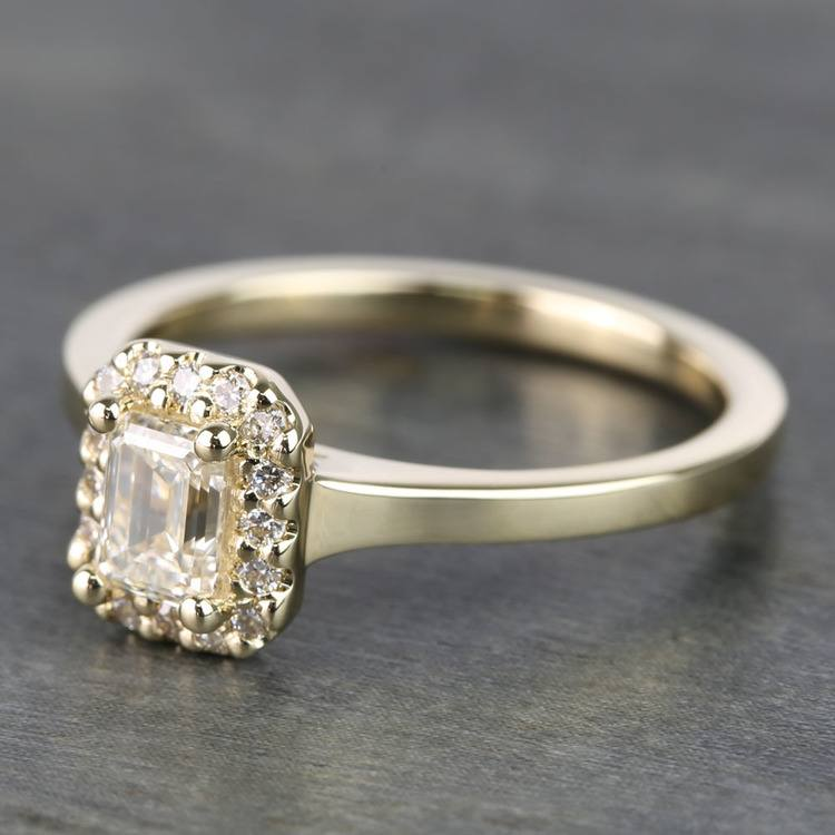 0.70 Carat Emerald Pave Halo Diamond Ring angle 2